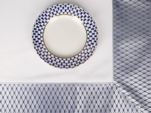 Russian Porcelain Lomonosov Tablecloth Cobalt Net 70
