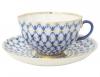 Lomonosov Imperial Porcelain Cobalt Net Tea Cup and Saucer Tulip 8.45 oz/250 ml