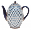 Lomonosov Imperial Porcelain Porcelain 8-Cup Coffee Pot with Lid Cobalt Net 40 oz/1200 ml