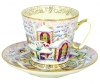 Lomonosov Imperial Porcelain Cup and Saucer Bone China Black Coffee Winter Day 2.71 fl.oz/80 ml