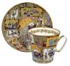 Lomonosov Imperial Porcelain Cup and Saucer Bone China Fairytale 2.71 fl.oz/80 ml