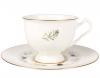Lomonosov Imperial Bone China Tea Set Cup and Saucer Aisedora Crowberry 8.1 oz/240 ml