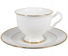 Lomonosov Imperial Porcelain Bone China Cup and Saucer Aisedora Golden Ribbon