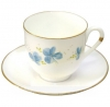 Lomonosov Imperial Porcelain Bone China Espresso Coffee Cup and Saucer Blue Flowers