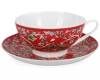 Lomonosov Imperial Porcelain Bone China Cup and Saucer Dome Red Chintz
