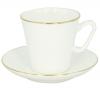 Lomonosov Imperial Bone Cup and Saucer Golden Edge China Black 2.71 fl.oz/80 ml