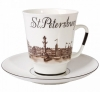 Lomonosov Imperial Porcelain Bone China Cup and Saucer May Good-bye St.Petersburg (1)