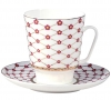 Lomonosov Imperial Porcelain Bone China Cup and Saucer May Red Flower Blues