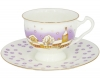 Lomonosov Imperial Porcelain Bone China Tea Cup and Saucer Snowfall