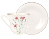 Lomonosov Imperial Porcelain Bone China Tea Set Cup and Saucer Carnation Flower 7.3 fl.oz/200 ml