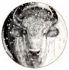 Lomonosov Imperial Porcelain Decorative Wall Plate Totem Animal BUFFALO