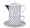Lomonosov Imperial Porcelain Teapot and Tea Сup Platinum Net Solo