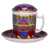 Lomonosov Imperial Porcelain Covered Tea Mug and Saucer Gothic-7 12.8 oz