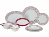 Porcelain Dinner Set European Red Net 24 items Lomonosov Imperial Factory