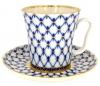 Lomonosov Imperial Porcelain Mug and Saucer Cobalt Net Leningradskii 12.2 fl.oz/360 ml