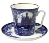 Lomonosov Imperial Porcelain Mug and Saucer Frosty Day Leningradskii 12.2 fl.oz/360 ml