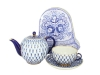 Special Offer: COBALT NET TEAPOT with TEA CUP AND SAUCER + Free Collectors tin of Russian Tea
