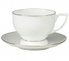 Lomonosov Imperial Porcelain Tea Set Cup and Saucer Pearl Golden Ribbon Bone China 11.5 oz/340 ml