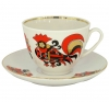 Lomonosov Imperial Porcelain Tea Set Cup and Saucer Spring Red Cockerels 7.8 oz/230ml