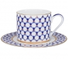 Lomonosov Imperial Porcelain Tea Set Cup and Saucer Solo Cobalt Net 7.4 oz/220 ml