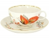Lomonosov Imperial Porcelain Tea Set Cup and Saucer Tulip Red Butterflies 8.45 oz/250 ml