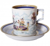 Lomonosov Imperial Porcelain Tea Set Cup and Saucer Winter Fun (3) 7.4 oz/220 ml