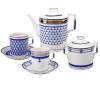 Lomonosov Imperial Porcelain Tea Set White Sea Waves 6/14