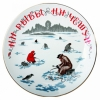 "Decorative Wall Plate Fisherman 7.7""/195 mm Lomonosov Imperial Porcelain"