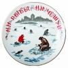 "Decorative Wall Plate Fisherman 7.7""/195 mm Lomonosov Imperial Porcelain"