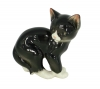 Cat Kitty Black Lomonosov Imperial Porcelain Figurine