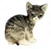 Cat Kitty Gray Striped Lomonosov Imperial Porcelain Figurine