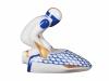 Russian Porcelain Porcelain Figurine Winter Sport Bobsledder Blue Uniform