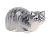 Hunting Cat Gray Lomonosov Imperial Porcelain Figurine