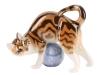 Marble Cat on Clew Ball Lomonosov Imperial Porcelain Figurine