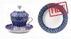 Special Offer: Buy Porcelain Covered Cup Set Gift-2 Forget Me Not 8.45 oz/250 ml  and get FREE Matching Dessert Plate