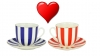 Valentine's Day Special: Lomonosov Porcelain Yes&No Couple Cup Set Cobalt and Red