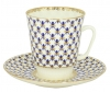 Lomonosov Imperial Porcelain Bone China Cup and Saucer May Cobalt Net 5.6 fl.oz/165 ml 2 pc