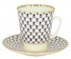 Lomonosov Imperial Porcelain Bone China Cup and Saucer May Cobalt Net 5.6 fl.oz/165 ml 2 pc