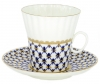 Lomonosov Lomonosov Porcelain Cobalt Net Dandelion Tea cup and saucer Bone China