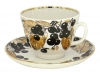 Lomonosov Imperial Porcelain Tea Set Cup and Saucer Gift Black Chokeberry 12.7 oz/375 ml
