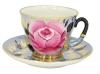 Russian Porcelain Tea Set Cup and Saucer Rose on Black 8.5 fl.oz/250 ml
