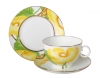Lomonosov Bone China Porcelain Tea Set AppleTea Cup, Saucer and Plate Yellow Flower 3pc 5.4 fl. oz/160 ml