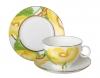 Lomonosov Bone China Porcelain Tea Set AppleTea Cup, Saucer and Plate Yellow Flower 3pc 5.4 fl. oz/160 ml