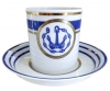 Lomonosov Porcelain Porcelain Tea Cup with Saucer Navy Style #1 7.4 oz/220 ml