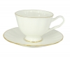 Russian Porcelain Bone China Porcelain Tea Cup and Saucer Nega Golden Ribbon 7.4 fl.oz/220 ml