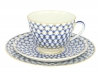Imperial Lomonosov Porcelain Tea Set Cup, Saucer and Cake Plate Spring Cobalt Net 7.8 oz/230 ml