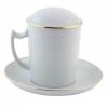 Lomonosov Porcelain Covered Herbal Steep Mug 12.8 oz/380 ml Snow White