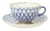 Imperial Lomonosov Porcelain Tea Set Cup and Saucer Cobalt Net