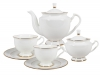 Bone China Tea Set 6/14 Aisedora Golden Ribbon Lomonosov Porcelain