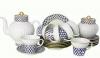 Lomonosov Imperial Porcelain Cobalt Net Wave Bone China Tea Set 6/21
